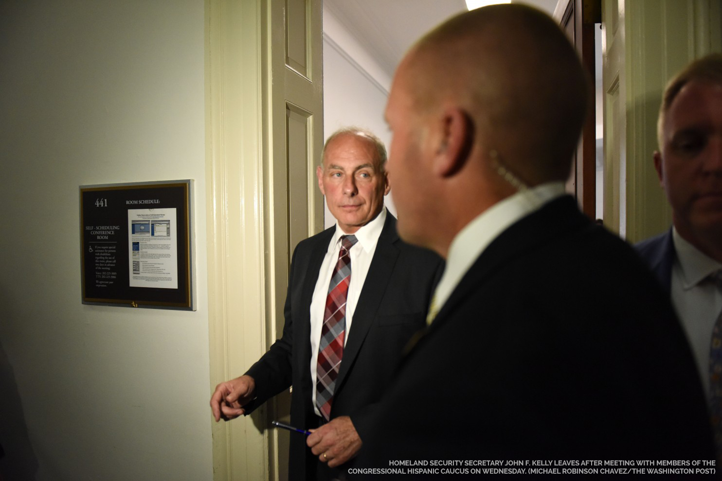 Homeland Security Secretary John F. Kelly leaves after meeting with members of the Congressional Hispanic Caucus on Wednesday. (Michael Robinson Chavez/The Washington Post)